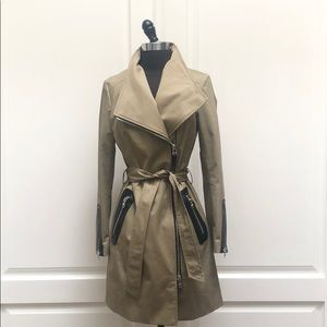 Mackage Estela belted Trench with leather trim